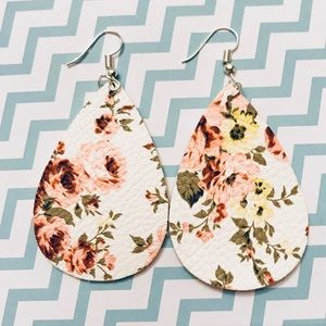 Peach Floral Leather Drop Earrings